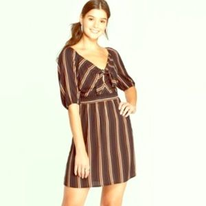 Xhilaration cute fall dress M stripped front tie